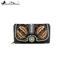 MW395-W010 Montana West Concho Collection Secretary Style Wallet