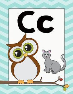 Owl Themed Classroom Decor Alphabet Posters Owl Theme Classroom, Classroom Rules, Arabic Alphabet Letters, Alphabet Posters, Teaching English, Disney Pixar, Decorative Items, Kindergarten, Poster Prints