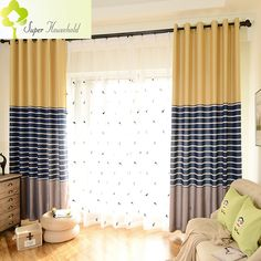 Modern Striped Printed Thick Blackout Curtains for Living Room Faux Linen Curtains for Bedroom Window Curtains for Kids 1 PC-in Curtains from Home & Garden on Aliexpress.com | Alibaba Group