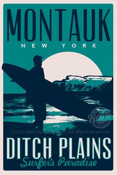 Montauk Ditch Plains Retro Vintage Surf Poster