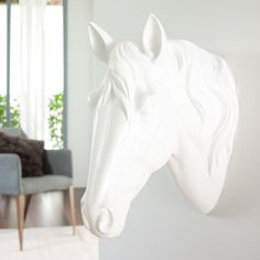 Make a statement with this extra large, wall mounted horses head. Moulded from polyresin, the head is beautifully detailed and coloured white throughout. The perfect piece for lovers of horses, and lovers of sculpture. Horse Themed Bedrooms, Bedroom Themes, Room Decor Bedroom, Horse Bedrooms, Themed Rooms, Bed Room, Master Bedroom Redo, Girls Bedroom, White Girls Rooms