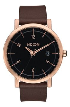 Nixon Nixon 'Rollo' Leather Strap Watch, 38mm available at #Nordstrom