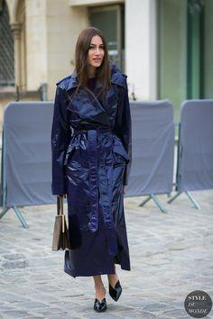 Giorgia Tordini wearing Nina Ricci trench coat and Celine bag before the Dior fashion show.