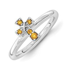 Rhodium Plated Sterling Silver Stackable Citrine 8mm Cross Ring -- See this great product. (This is an affiliate link) #Rings