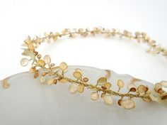 Wire wrapped, champagne, gold, light orange, bride jewelry, nature inspired, golden brass, flower petals, bridesmaid gift, grecian jewelry