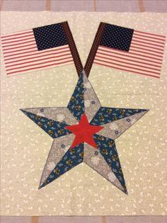 Yankee Diary by Barbara Brackman BOM Block#2 Star and Flags. Machine pieced by Rina.
