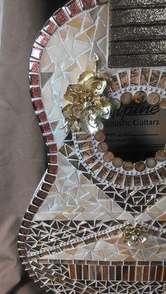 HandCut Glass Mosaic Guitar 30 by jennifershearer on Etsy, $255.00