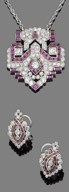 A ruby and diamond pendant necklace and earring suite  Of geometric design, set throughout with cushion-shaped, single and old brilliant-cut diamonds, highlighted by courses of calibré-cut rubies, to a rope-link chain, accompanied by a pair of earrings of similar design, diamonds approx. 4.60cts total, lengths: pendant 3.5cm, chain 41.0cm, earring 2.1cm [Art Deco or Art Deco style]