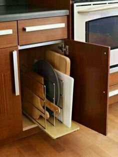 Kitchen Storage Ideas - cutting board storage