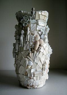 Mosaic vase. WIP - pique assiette vase by Rush Creek