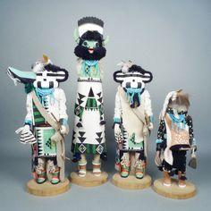 Set of 4 Zuni Kachina Dolls from the Shalako Ceremony   Shiprock Santa Fe