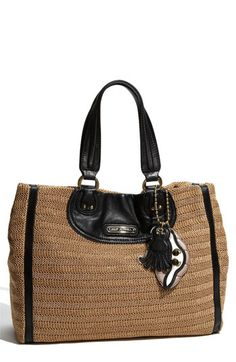 black trimmed faux straw tote. juicy