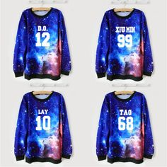 Harajuku galaxy exo sweatshirt sweater coat
