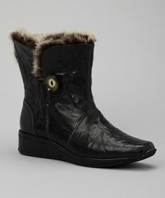 Take a look at this Black Gina Boot by Antia Shoes on #zulily today! Love fur lined boot. As I get older my feet get colder!