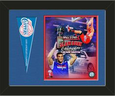 One framed 8 x 10 inch Los Angeles Clippers photo of Blake Griffin with a Los Angeles Clippers mini pennant, double matted in team colors to 14 x 11 inches.  (Pennant design subject to change)  $59.99 @ ArtandMore.com