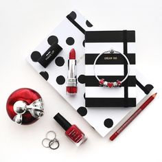 black and white and red - flat lay @coolflatlays