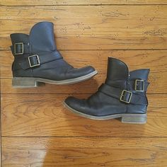 Black boots Black boots with a fleece lining. The toes are not lined with fleece. Has side zippers and gold buckles. Worn twice and are in excellent condition. Mossimo Supply Co Shoes Ankle Boots & Booties
