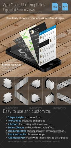 Buy App Mock-Up Templates by kevinhamil on GraphicRiver. Showcase your app designs and ui kits with style. Great for use on websites and presentations! Ux Design, Tool Design, Game Design, Gui Interface, User Interface Design, Photoshop, Mobile Ui Design, Mockup Templates, Packaging