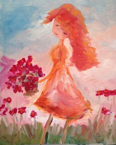 """Melancholy Girl with Poppies Original Oil Painting by Roxy Rich 5 x 7. Original oil painting of melancholy red headed girl collecting poppies. Painting is on un-stretched canvas paper. It will arrive in a Photo holder Card-the one shown-gently taped to the holder. Most of my art is priced at """"x"""" dollars per square inch and that """"x"""" is determined by cost of materials (oil vs acrylic), style of art (decoupage, impressionism, etc) and whether or not it would be considered decor art, folk art…"""