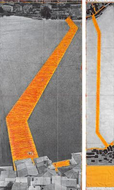 Christo and Jeanne-Claude - The Floating Piers (Project for Lake Iseo, Italy) Gold Fabric, Yellow Fabric, Christo Floating Piers, Christo Y Jeanne Claude, Architecture Drawings, Contemporary Art, Illustration Art, Abstract, Artwork