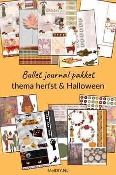 Bestaat uit 11x A4 formaat pagina's met plaatjes en functionele items die je goed kan gebruiken in je bullet journal en junk journal. De maand omslag is met en zonder de tekst, oktober te verkrijgen. Knip plak en creëer je mooiste bullet journal pagina's. Het bestaat uit plaatjes met en zonder tekst, de dagen van de week en de maand oktober #bulletjournal #bujo #printables #bujocoverpage #bulletjournalmoodtracker #oktober #herfst #halloween Mood Tracker, Autumn Leaves, Fall Leaves, Autumn Leaf Color