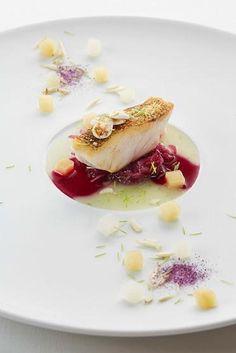 zander - almond - red cabbage - spruce - The ChefsTalk Project