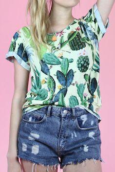 Green cactus graphic t-shirt