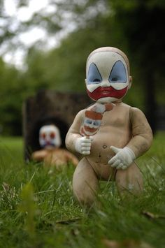 Baby Dolls are Creepy enough as it is but this takes it to the next level    Paint it like Serial killer John Wayne Gacy Pogo the clown