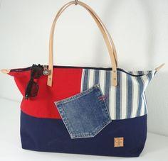 bolsa de verano azul rojo