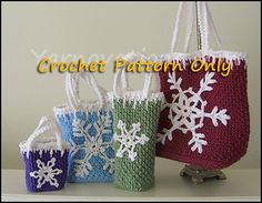 Ravelry: Snowflake Holiday Gift Bags pattern by Yarn Twins.