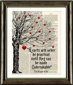 Wizard of Oz Heart Quote  vintage book page by PixelArtPrints, $10.00