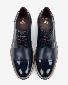 Textured leather derby shoes - Dark Blue   Shoes   Ted Baker