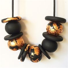 Black and Copper Polymer Clay Necklace