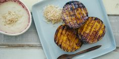 Chargrilled mango cheeks with macadamia, coconut and ginger sauce