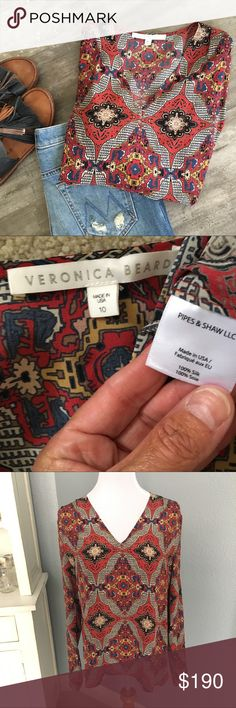 """Veronica Beard🔥'Bonfire Bandana' Silk Print Top Like new, no marks, stains or pulls, very rare Veronica Beard silk long sleeve v neck top.  This Bonfire blouse is loaded with New York city cool. The colourful bandana-print gives its fluid silk silhouette a modern edge. Wear yours with softly tailored trousers for a smart look. Or dress down with some cutoffs and sandals for a boho chic look. Pretty pintuck like dart at neckline.  Armpit seam to seam measures appx 21"""", appx 28"""" long from…"""