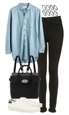 """""""Untitled #4305"""" by eleanorsclosettt ❤ liked on Polyvore featuring mode, Topshop, Madewell, Mulberry en Yves Saint Laurent"""