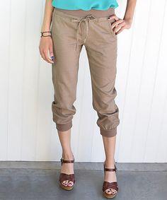 Another great find on #zulily! Mocha Linen-Blend Capri Pants - Women by éloges #zulilyfinds