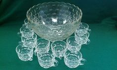 Vintage Federal Yorktown Colonial Clear Glass Punch Bowl Twelve 12 Cup Set. $20.00, via Etsy.