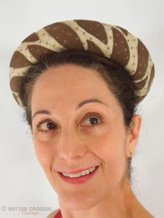 Vintage 1960s Mod Breton Hat . Brown Leaves on Creamy White With Net Overlay. by Better Dresses Vintage