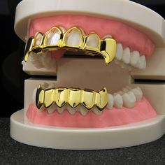 (Pre Made) Gold Plated Half Fangs Grillz - Top & Solid Fangs Bottom Bottom Grillz, Diamond Grillz, Tooth Gem, Gold Grill, Hip Hop, Gold Teeth, Gold Tips, Body Jewelry, Wire Jewelry