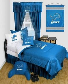 Detroit Lions NFL Locker Room Complete Bedroom Package by Sports Coverage. $212.99. This great NFL Complete Bedroom Package comes with Detroit Lions comforter, flat and fitted sheets, pillow case, pillow, sham, bedskirt and valance. Choose between twin package, full package, or queen package. Matching accessories are also available including Detroit Lions shower curtain, lamps, wallpaper and more. This is our BEST VALUE! Buy the complete bedroom package and save off ou...