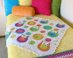 CROCHET PATTERN - Owl Obsession - a CoLorFuL owl blanket - Instant PDF Download