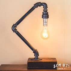 Handmade Industrial Pipe Lamp Reclaimed Wood Base by Lampe Steampunk, Industrial Lighting, Industrial Pipe, Tiffany Table Lamps, Lamp Switch, Large Lamps, Antique Lamps, Antique Brass, Pipe Furniture
