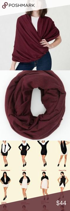 "NWT American Apparel Circle Scarf In Burgundy Brand new with tag, Amerian Apparel circle scarf in beautiful burgundy color. 80"" circumference and 47"" long. Completely seamless. If you have ever worn this circle scarf from American Apparel, I am sure no explanation is necessary. They are extremely lightweight fabric but very warm. It just falls on your body giving a chic look. It is a versatile scarf that is a MUST HAVE!!! American Apparel Accessories Scarves & Wraps"