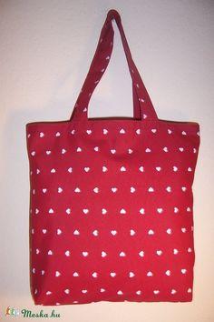 Piros szív mintás táska normál füllel (textilcseppek) - Meska.hu 584ccee3c1