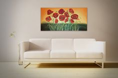 """Original Acrylic Poppy Flower Painting on Canvas by Joaquina - Floral Acrylic Painting, Poppies in Bloom - Size: 24"""" x 48"""" #Poppies #Flowers #Painting #LargePainting #Acrylic"""