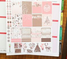 Pink Christmas Background Planner Sticker Set  Erin Condren and Happy Planner sizes listed  The stickers are printed on matte adhesive paper and