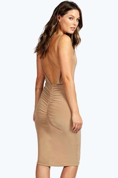 boohoo Miranda Ruched Back Slinky Midi Dress