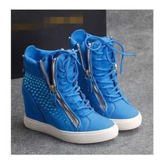 Women's Gothic zip up wedges sneakers lace up Rhinestone trim ankle boots blue Sneakers Mode, Wedge Sneakers, Wedge Boots, High Heel Boots, Sneakers Fashion, Fashion Shoes, Sneaker Wedges, Women's Shoes, Hot Shoes