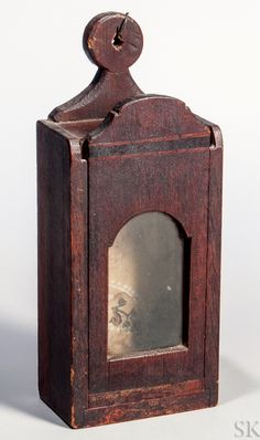 Carved and Inlaid Mahogany Watch Hutch Primitive Furniture, Primitive Antiques, Country Furniture, Primitive Lighting, Antique Lighting, Wooden Lanterns, Candle Lanterns, Candle Box, Candle Holders